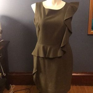 Calvin Klein olive green dress with ruffle